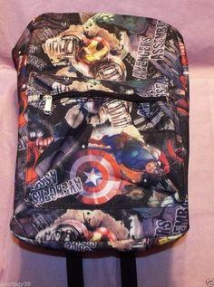 """Marvel Avengers Full Print BLACK 16"""" School Backpack PC LAPTOP Bag Hulk Iron Man #MarvelComics"""