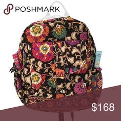 """🎯{Vera Bradley} """"Suzani"""" pattern backpack 🎁Offers encouraged & flexible                                                                                🔑Bundle to save 10%                                                                                                   👍Like for price drop notifications                                     EUC, like new. Retired pattern. 2 side pockets, 1 front magnetic clasp pocket. On the inside there are a few small pockets along the back. """"Vera…"""