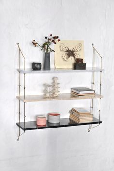 OX Design Marble shelf | Artilleriet | Inredning Göteborg I'd love one in messing and 100% white marble...