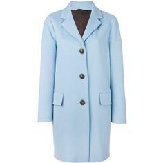 Alberto Biani button front coat ($528) ❤ liked on Polyvore featuring outerwear, coats, blue, blue coat and alberto biani