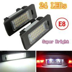 2X E-marked OBC Error Free 24 LED White License Number Plate Light Lamp For BMW E81 E82 E90 E91 E92 E93 E60 E61 E39 X1/E84 - $22.99