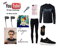"""""""Troye Sivan (Day 14. Best accent,30 Day YouTube Challenge)"""" by momo-diomands ❤ liked on Polyvore featuring Ström, Disney, NIKE and Jays"""