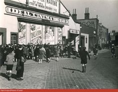 Children queuing outside the Ideal Cinema in King Street, Poplar, c. London History, British History, Local History, Family History, Vintage London, Old London, London Docklands, East End London, London Theatre