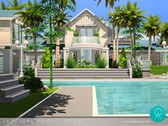 By Pralinesims Found in TSR Category 'Sims 4 Residential Lots' Sims 4, Villa, Sims Ideas, Tropical, Mansions, House Styles, Dream Homes, Objects, Woman