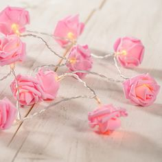 20 LED Pink Rose Flower Lights Warm-white LEDs 3 x AA Batteries required (not included) of lights with a lead wire to the battery pack Ideal for bedrooms Flower Fairy Lights, Girl Cave, Woman Cave, Rosa Rose, Pink Rose Flower, Indoor Flowers, Color Rosa, Fairy Lights, Diy Home