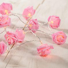 20 Warm White LED Pink Rose Flower Battery Fairy Lights £9.99 | Lights4fun.co.uk