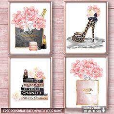 Fashion Wall Art Fashion Wall Decor Bedroom Wall Art Vanity Wall Art Peony Art Set Fashion Art Print Fashion Poster Set Above Bed Art Perfume Arte, Book Perfume, Perfume Bottle, Chanel Perfume, Set Fashion, Fashion Books, Fashion Decor, Fashion Glamour, Fashion Art