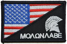 USA Flag / Spartan Head Molon Labe 2.25x3.5 Military Patch / Morale Patch - Multiple Color Options (Full Color)