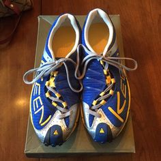 Brand new Keen tennis shoes! New in box. Bright blue/ yellow/ silver.  Men's A86 TR in size 8, fit like women's 8&1/2. Extremely light and streamlined shoe. Keen Shoes Sneakers