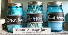Homespun With Love: Quick & Easy Mason Storage Jars with chalkboard labels