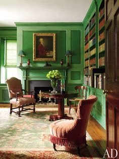 Home Interior White Traditional library by Alison Martin Interiors Ltd. and Jean Perin Interior Design in Virginia.Home Interior White Traditional library by Alison Martin Interiors Ltd. and Jean Perin Interior Design in Virginia Painted Bookshelves, Built In Bookcase, Bookcases, Traditional Office, Traditional Interior, Traditional Kitchens, Green Library, Green Rooms, Bedrooms