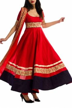 Red Rawsilk Anarkali with Tiered Embroidery