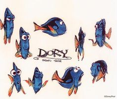 Dory character study concept art. Lovely sketches done for Finding Nemo