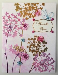 Thank you card embellished with tatted flowers and butterfly @craftsy