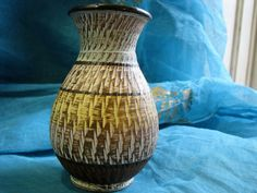 Mid Century Vase – Dümler Dumler Breiden 216 12 – 1950s Design – Sgraffito + pastel colors – vintage German pottery WGP – Modernist von everglaze auf Etsy