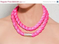 SALE Valentines day gift  Neon pink necklace  by Shirapazdesign, $35.00