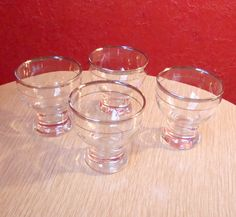 Four Small Silver Rim Vintage Mid Century by kitschbitchvintage, $12.00