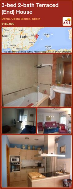 Terraced (End) House for Sale in Denia, Costa Blanca, Spain with 3 bedrooms, 2 bathrooms - A Spanish Life Murcia, Seville, Malaga, Townhouse, Terrace, Madrid, Spain, Bathroom, Bed