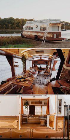 School Bus Conversion, Camper Van Conversion Diy, Sprinter Van Conversion, Van Life, Camping Car Van, Tent Camping, School Bus Tiny House, Kombi Home, Bus Living