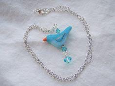 Tweet Tweet Polymer Clay Bird and Swarovski by BlueMerlinCreations, $21.00