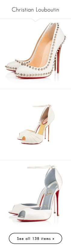 """""""Christian Louboutin"""" by candysweetieglam ❤ liked on Polyvore featuring shoes, pumps, louboutin, christian louboutin, heels, neige, leather shoes, summer shoes, christian louboutin shoes and spiked heel shoes"""