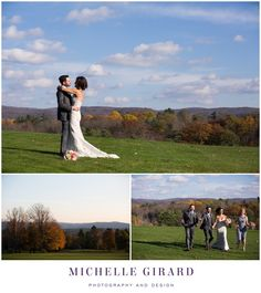 Sunny Portrait of Bride and Groom with View of the Berkshire Mountains :: Classic Fall Wedding :: Cranwell Resort and Spa in Lenox, Massachusetts in the Berkshires :: Michelle Girard Photography and Design