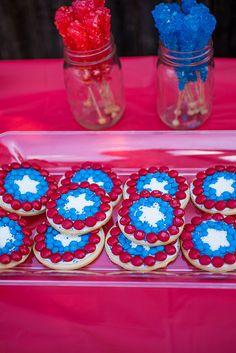 Captain America Party Shield Cookies #HeroesEatMMs #Shop