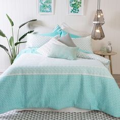 Pillow talk gypsy Blue Quilted Quilt Cover Set