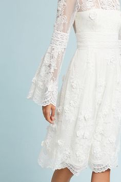 Monique Lhuillier Mixed Lace Dress