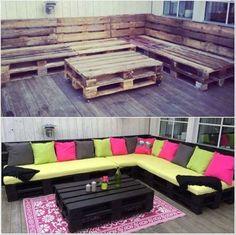 Maak van oude pallets een gezellige zithoek in de tuin!!
