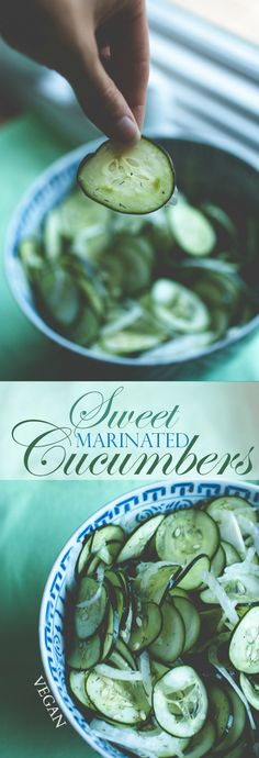 Produce On Parade - Sweet Marinated Cucumbers - A refreshing side dish for the summer and super easy too! The perfect marriage of sour and sugary with notes from the delicate, herbed cucumber slices and sweet onion.