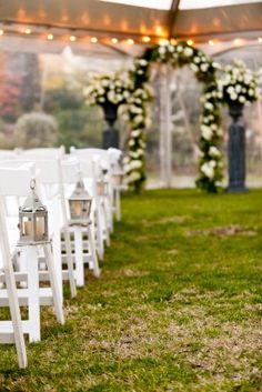 All White Outdoor Wedding Ceremony Decor
