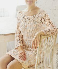 """Вязанное крючком платье """"Абрикосовый цвет"""". Handmade. Outstanding crochet"""