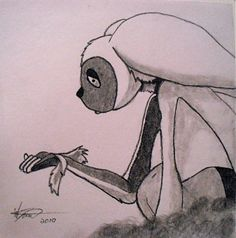 Subject: Momo missing Appa - Avatar  Medium: Charcoal  Date: March 15, 2010