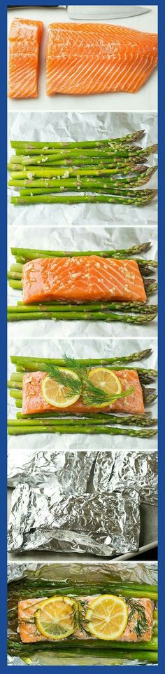 Baked Salmon in Foil (with Asparagus) - Cooking Classy Baked Salmon and Asparagus in Foil - this is one of the easiest dinners ever, it tastes amazing, it's perfectly healthy and clean up is a breeze! Salmon Recipes, Fish Recipes, Seafood Recipes, New Recipes, Cooking Recipes, Healthy Recipes, Recipies, Cooking Foil, Lunch Recipes