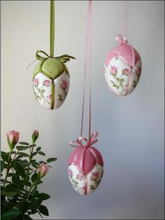 Patchwork eggs, made with styrofoam eggs, fabric & narrow ribbon