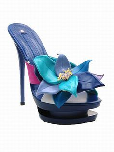 Designer Clothes, Shoes & Bags for Women High Heel Mule Shoes, Heeled Mules Sandals, Mules Shoes, Shoes Sandals, Blue High Heels, Gianmarco Lorenzi, Shoe Collection, Me Too Shoes, Stiletto Heels