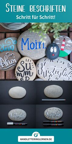 Steine beschriften (Handlettering) Hand lettering on stones - the perfect holiday activity. :) Actually, it is nothing new: Even as a child, I wrote and painted stones that I collected on vacati Diy And Crafts, Arts And Crafts, Rock Crafts, Homemade Crafts, Kindergarten Art Projects, Boyfriend Birthday, Engagement Ring Cuts, Holiday Activities, New Opportunities