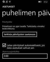 Windows Phonen päivitysnäyttö