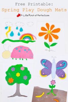 Free Printable: Spring Play Dough Mats (Bugs, Weather, Plants) | A Little Pinch of Perfect