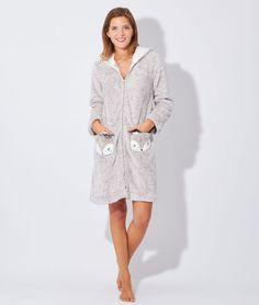 Peignoir chiné, toucher peluche poche renard Boutique Lingerie, Peignoir, Shirt Dress, Fitness, Sweaters, Cotton, Shirts, Clothes, Dresses