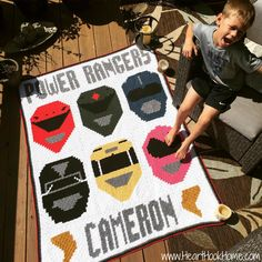"I'm happy to report that the ""Power Rangers"" portion of the graphghan Power Rangers blanket I posted a short while ago is now (finally) ready!"