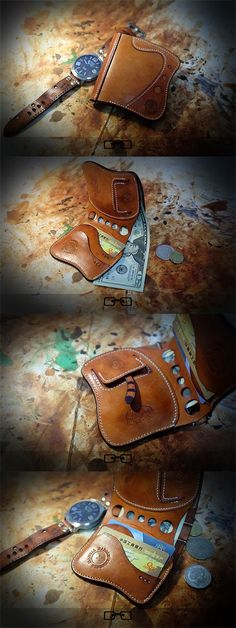 Curves in this model of wallet bring a new feel to the old idea Leather Wallet Pattern, Handmade Leather Wallet, Leather Card Wallet, Leather Gifts, Leather Pouch, Leather Tooling, Leather Craft, Leather Purses, Leather Wallets