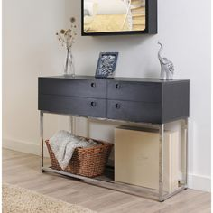 Marque Functional Black Finish Console Table | Overstock.com