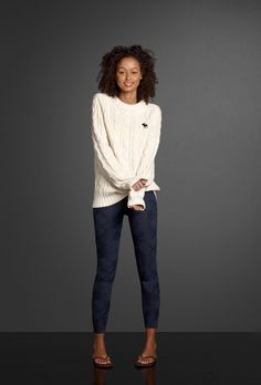Borrow your boyfriend's favorite sweater and slip into a pair of pretty patterned jeggings for a cozy, flirty look.
