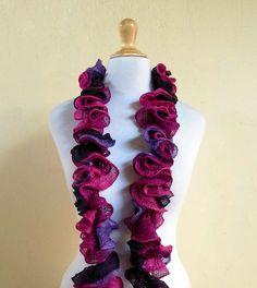 PURPLES & FUCHSIA Scarf  knitted ruffle by OriginalDesignsByAR, $24.95