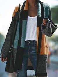 Plus Size Color-block Boho Shawl Collar Patchwork Outerwear Cardigan Loose Sweater, Sweater Coats, Long Sleeve Sweater, Coats For Women, Sweaters For Women, Loungewear Set, Mode Inspiration, Outerwear Women, Pulls