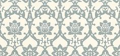 Brocade (BP - Farrow & Ball Wallpapers - An elegant design with gothic influences and elaborate floral, thistle and leaf motifs. Shown here in blue on off white water based paints - more colours are available. Please request a sample for true colour match