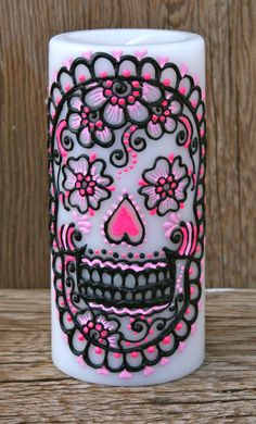 Painted Sugar Skull Pillar Candle, White Pillar Candle, Day of the Dead, Dia de los Muertos