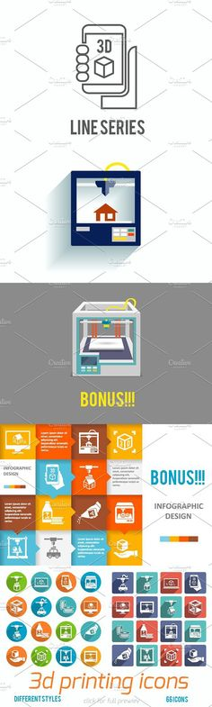 66 3d printing vector icons. Graphic Design Infographics #print